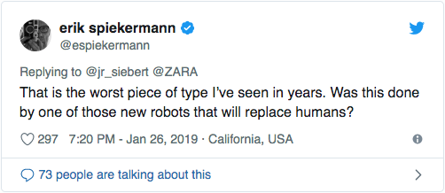 erik spiekermann tweet about zara logo